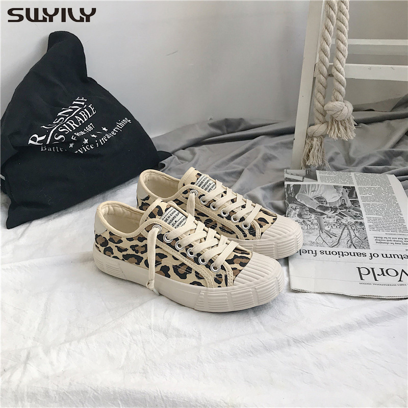 SWYIVY Chaussure Femme Canvas Shoes Women Sneakers 2019 Autumn Casual Shoes Women Leopard Sneakers For Woman Flat Ladies Shoe