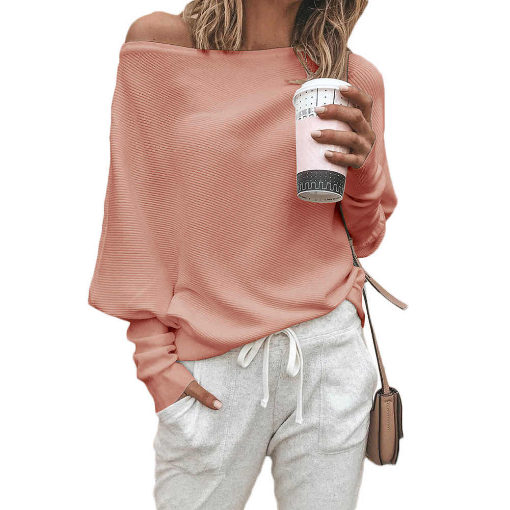 759908ac3ea73d ... YJSFG HOUSE Womens Fashion Sweaters Sexy Off Shoulder Long Sleeve  Sweater Ladies Knitted Jumper Pullover Top ...