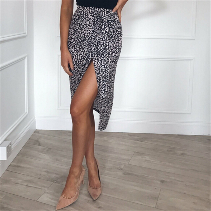 Summer Women Skirt Leopard Print High Waist Skirt Long Skirts Womens Clothing Streetwear Casual Lace Up Office Lady Skirts