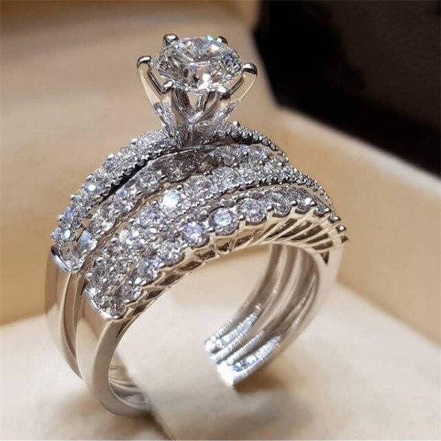 Bagues pour femmes bijoux trésor bague de fiançailles ensemble Couple en acier inoxydable mode ovale bague en argent ensemble avec zircon B2602