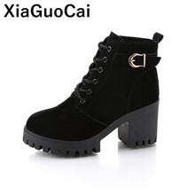 2019 Spring Autumn Women Ankle Boots High Heel Woman Shoes Platform Female Martin Boots Lace Up Buckle Ladies Footwear Fashion 2017 women fashion vintage genuine leather shoes female spring autumn platform ankle boots woman lace up casual boots 1806w