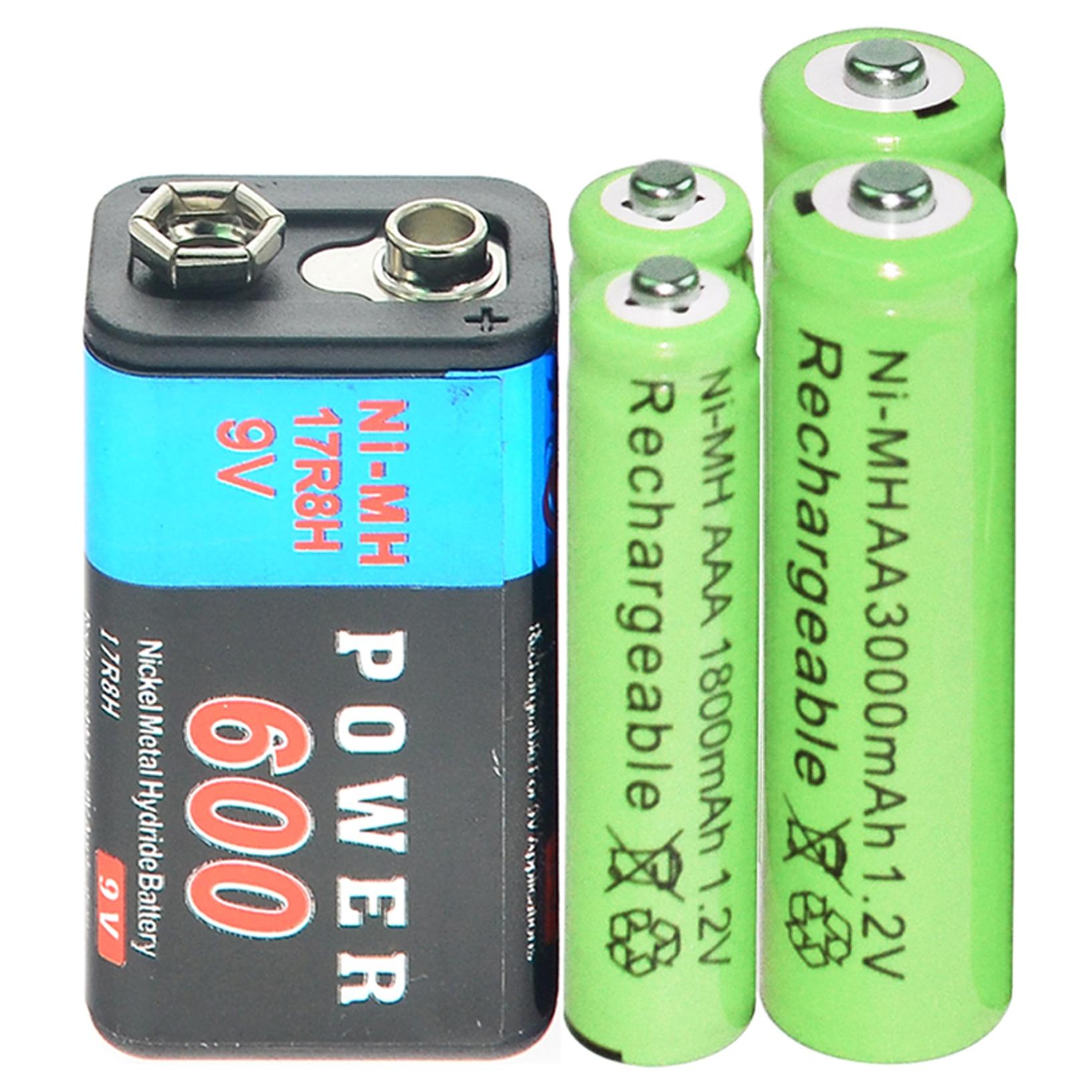 1x 9v 600mAh + 2xAA 3000mAh + 2x AAA 1800mAh 1.2V NI-MH Rechargeable Battery green
