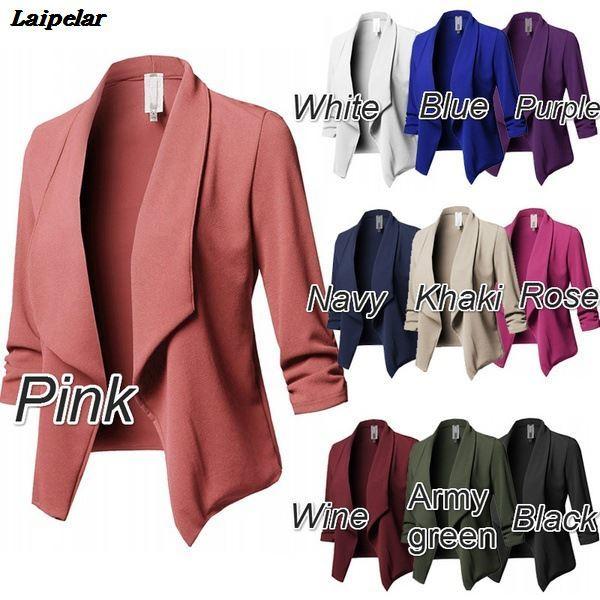 10 Colors S-5XL Jackat Coat Blazer Women Candy Slim OL Fold Short Fit Fashion vintage White Black Blazers Suit Woman Tops