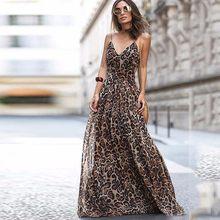 034429d1b15 BEFORW 2019 для женщин летние спагетти длинное платье на лямках Sexy V  образным вырезом леопардовым принтом