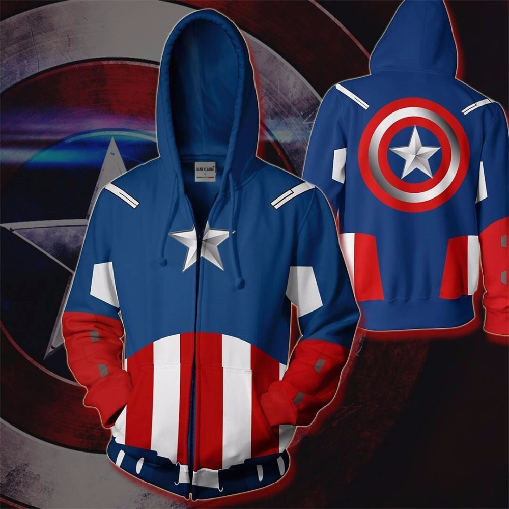 BIANYILONG Autumn Winter 3D Print Captain America Sweatshirts Hoodies Fashion Cosplay Zipper Hooded Jacket Clothing