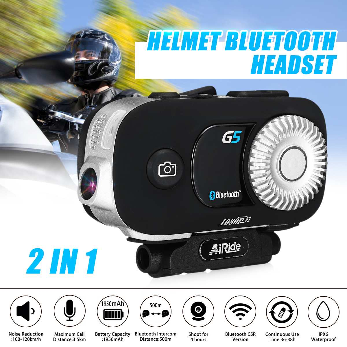 Audew G5 3500 M casque bluetooth casque moto 2 en 1 étanche 1080 P caméra casque interphone avec casque pour 8 coureurs