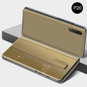 Image 1 - Innovativo Custodia protettiva del Cuoio di Vibrazione Della Copertura di Placcatura Specchio Curvo Del Basamento Anti Collisione Smart Phone Back Protector Per Huawei