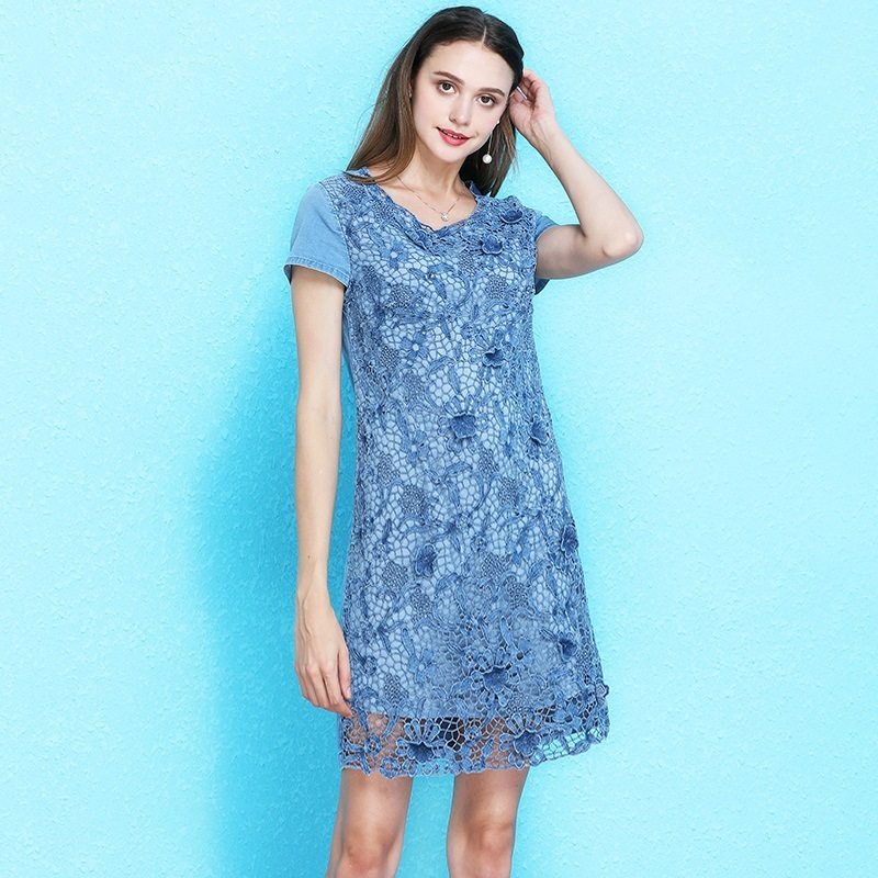 2019 Summer loose large size dress women s fashion temperament side zipper denim dress mujer NW19B6116