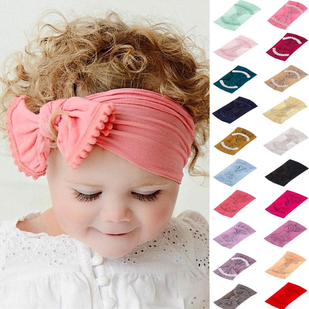 Toddler Girls Baby Big Bow Turban Knot Head Wrap Hairband Headband Stretch