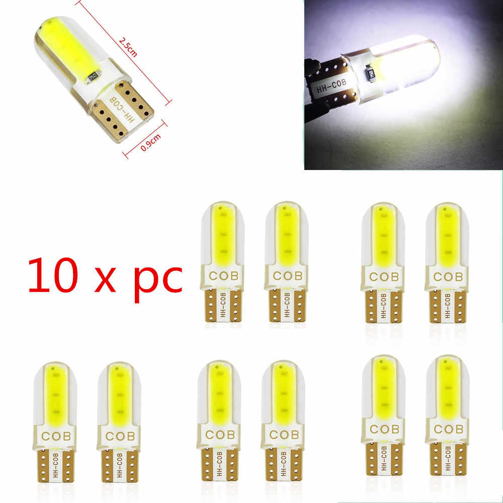 10pcs Silica gel LED COB W5W T10 194 8SMD Wedge clearance light Bulb Auto for License plate reading car door trunk car lamp