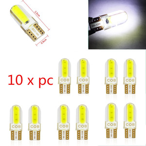 10pcs Silica gel LED COB W5W T10 194 8SMD Wedge clearance light Bulb Auto for License plate reading car door trunk car lamp(China)