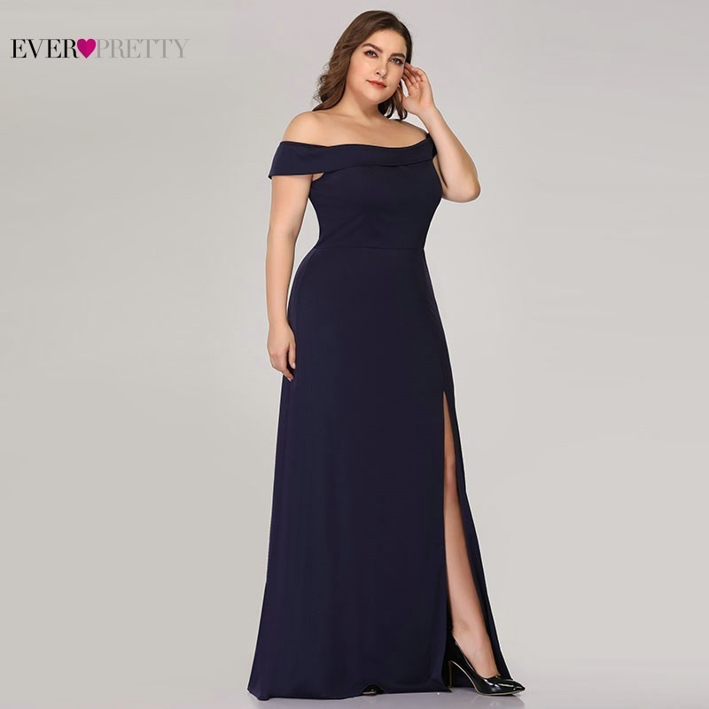 Image 4 - Plus Size Mermaid Prom Dresses Ever Pretty High Split Boat Neck Off the Shoulder Sexy Navy Blue Long Prom Dresses for Party 2019-in Prom Dresses from Weddings & Events