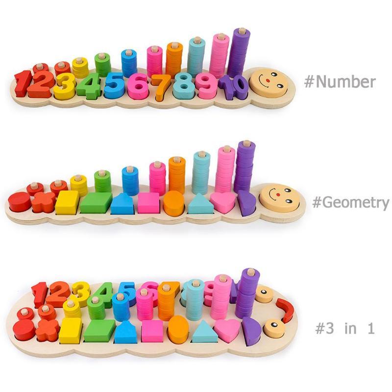 En bois Montessori nombre numéros géométrie correspondant Montessori début développement éducatif jouets pour enfants cadeau de noël