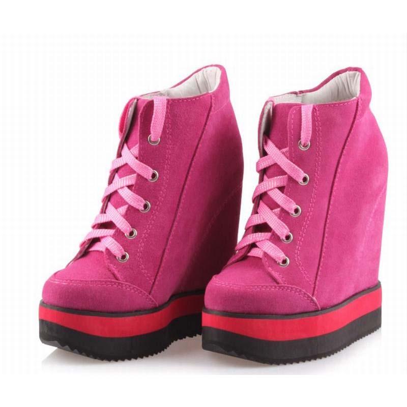 Designer Zapatillas Deportivas Mujer en cuir véritable daim à lacets plate-forme décontracté femmes chaussures haut Top caché Wedge bottines