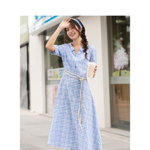 Image 3 - אינמן קיץ כחול לבן משובץ ספרותי צעיר ילדה רזה אונליין להנמיך צווארון נשים שמלה