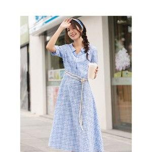 Image 3 - INMAN lato niebiesko biała chusta literacka młoda dziewczyna szczupła linia skręcić w dół kołnierz kobiety sukienka