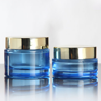Empty Cosmetic Blue 50g Glass Face Cream Jar with Black And Gold Lid, Makeup Packaging Container Refillable Bottles Wholesale