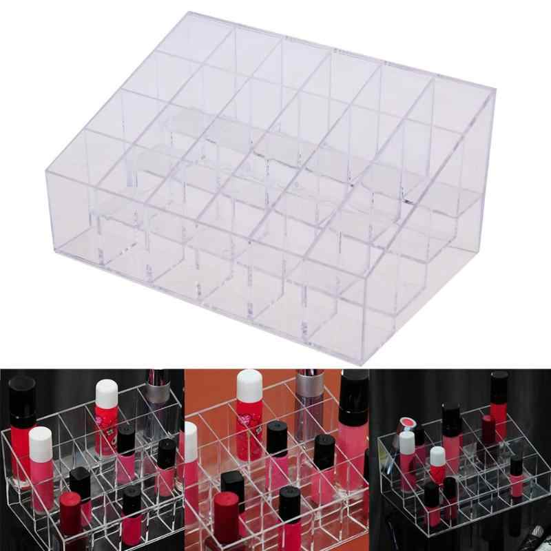 24 Cells Makeup Organizer Storage Box Plastic Cosmetic Boxes Lipstick Jewelry Box Case Acrylic Holder Stand Cosmetic Organizer