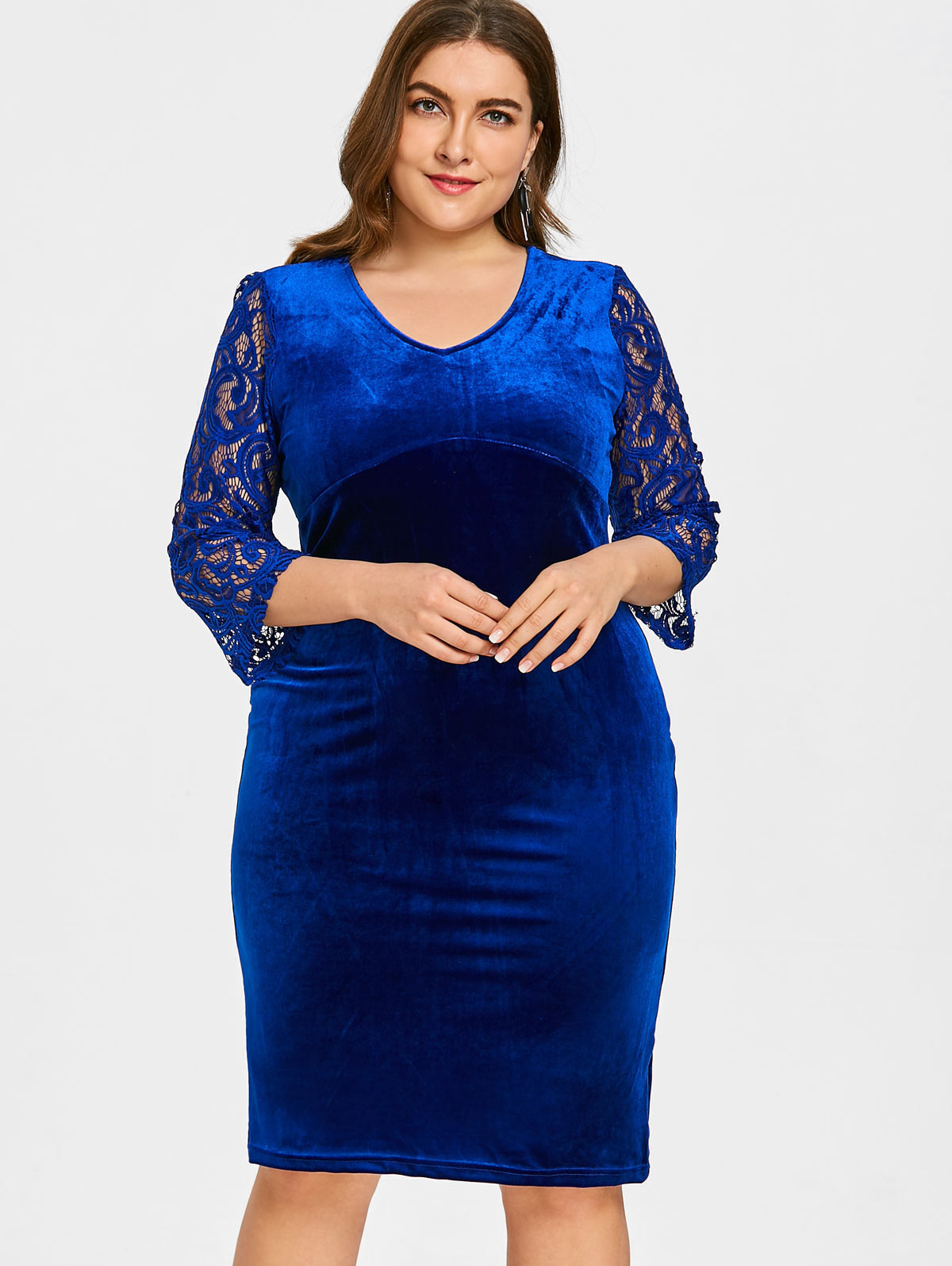 US $15.65 48% OFF|Wipalo Plus Size Velvet Dress Lace Sleeve Knee Length  Bodycon Dress Women V Neck Solid Color Big Size Vestidos Ladies Clothing-in  ...