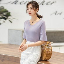 Flare Sleeve knitted t-shirt Slim Thin ruffles T-Shirt Female Student Bottoming Shirt Schoolgirl Rendering F9927