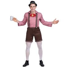 цена Adult Oktoberfest Costume Cosplay Men Lederhosen Beer Festival Costume Bavarian German Beer Suit Halloween Costume For Men онлайн в 2017 году