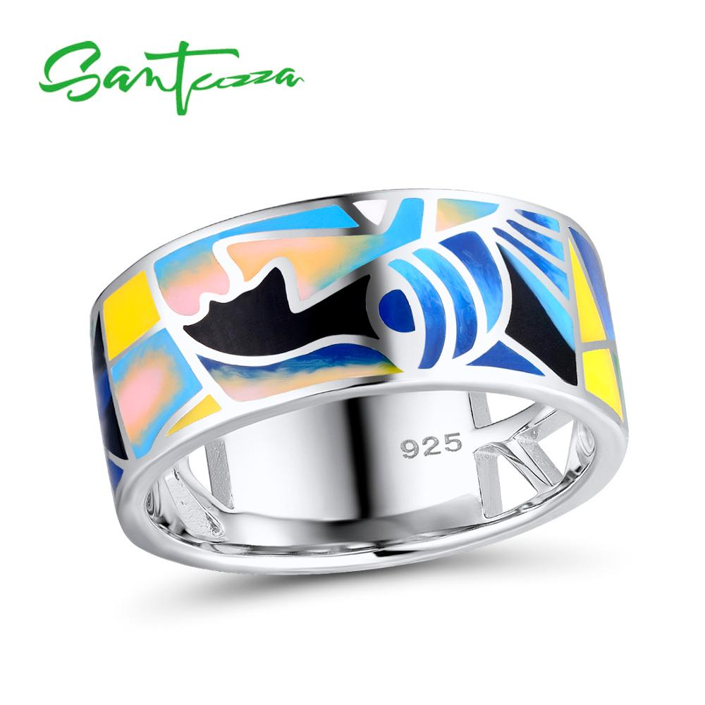 SANTUZZA Silver Rings for Women Pure 925 Sterling Silver Lord of the Ring HANDMADE Colorful Enamel Ring Party Fashion JewelrySANTUZZA Silver Rings for Women Pure 925 Sterling Silver Lord of the Ring HANDMADE Colorful Enamel Ring Party Fashion Jewelry