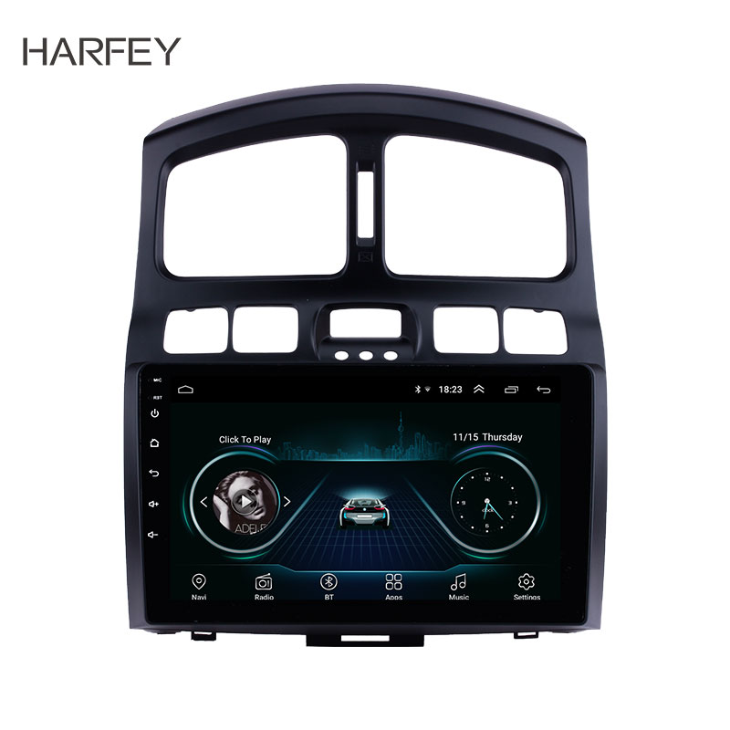 Harfey for 2005 2015 Hyundai Classic Santa Fe 9 Android 8.1 Head Unit GPS Navigation AUX MP3 Bluetooth Car Stereo TV Tuner