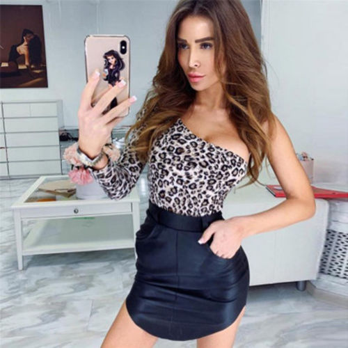 Women's Clothing Fast Deliver Women Ladies Leopard Irregular Collar Bodycon Bodysuit One Shoulder Long Sleeve Jumpsuit Tops Bodysuits Shirts Beautiful In Colour