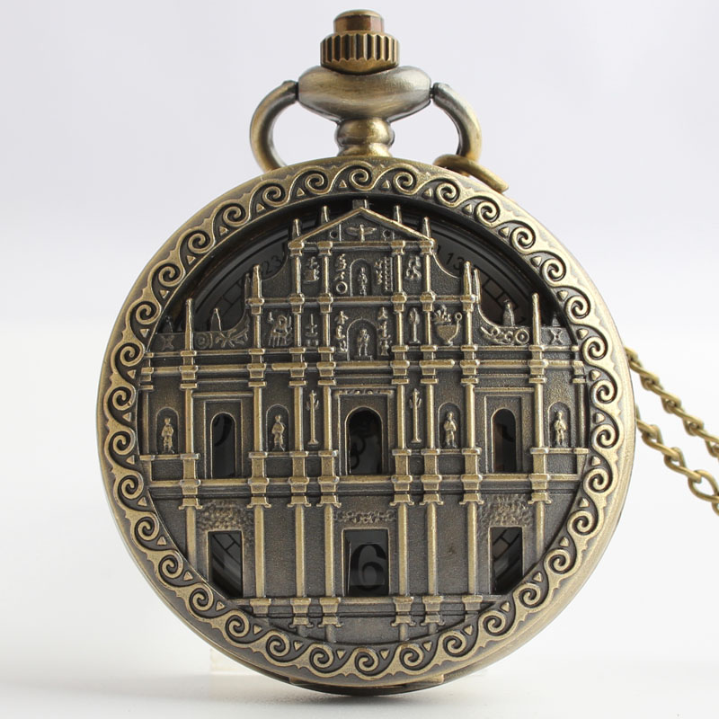 Pocket & Fob Watches Vintage Bronze Building Quarzt Pocket Watch with Neckace Pendant for Men/women Gift