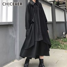 CHICEVER Summer Casual solidna czarna sukienka damska klapa długi guzik na rękawie kieszenie asymetryczne Mid Claf sukienki damskie 2020 fala