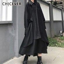 Chicever 夏カジュアルソリッド黒人女性ドレスラペル長袖ボタンポケット非対称ミッドワリフ女性ドレス 2020 潮