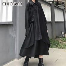 Frango vestido casual liso preto com gola, vestido feminino com manga longa e assimétrico, com bolsos no botão, 2020