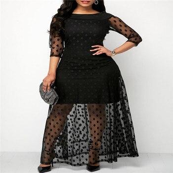 1a0ecaa32308580 Женские ботильоны-длина шить Горошек кружевное платье женские летние  сетчатые Черные Длинные платье макси пикантные Повседневное прямые М..