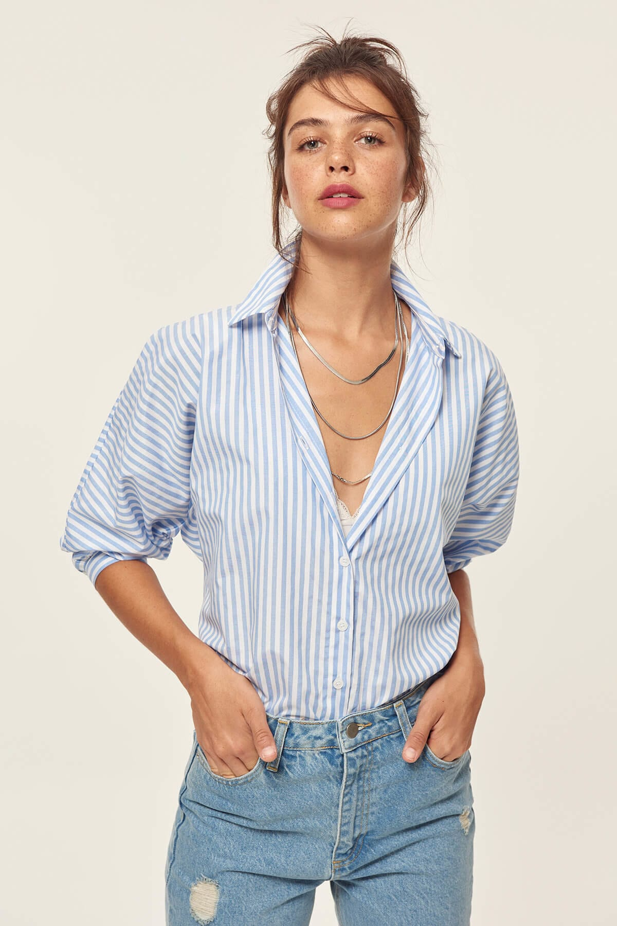 Trendyol Blue Striped Balloon Sleeve Shirt TCLSS19XB0026