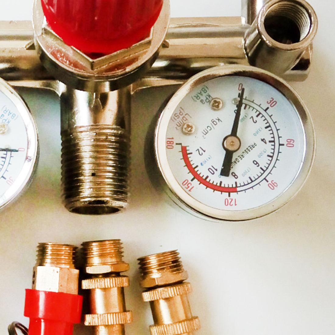 4 Port Air Pump Control Valve Regulator Heavy Duty Air Compressor Pump Pressure Control Switch 7.25-125 PSI with Gauge4 Port Air Pump Control Valve Regulator Heavy Duty Air Compressor Pump Pressure Control Switch 7.25-125 PSI with Gauge