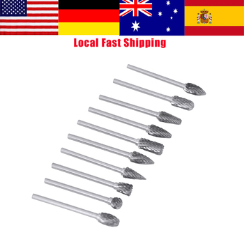 цена на 10Pcs Carbide Burrs Tungsten Milling Cutter Rotary Tool Burr Drill Bit Set Electric Grinding Drilling Bits for Metal Woodworking