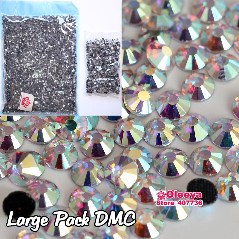DMC Hotfix Flatback Clear Crystal Rhinestone Nail Art Iron On SS10 SS16 SS20