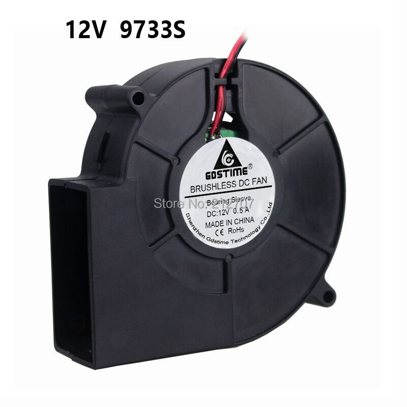 1 Piece High Air Pressure 2Pin <font><b>9733</b></font> 97x33mm 97mm Air Flow Cooler <font><b>12V</b></font> Brushless DC <font><b>Blower</b></font> <font><b>Fan</b></font> image