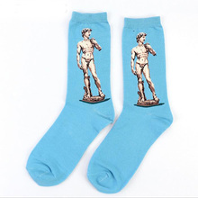 Drop shipping Autumn winter Retro New Art Mural World Famous Oil Painting Series Men And Women Socks Funny