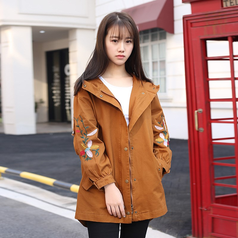Plus Size 2019 Spring Embroidery Hooded   Trench   Coat Women Vintage Solid Long Overcoat Casual Large Sized Outerwear