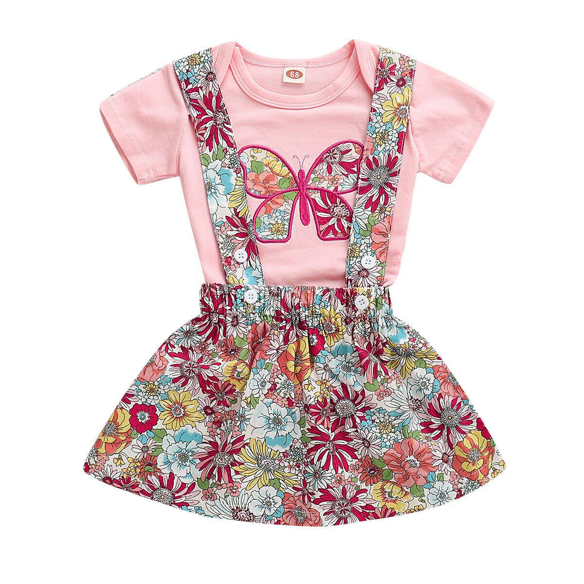0-24 M Baby Mädchen Floral Kleidung Gesetzt Kleine Mädchen Kurzarm Body Blume Hosenträger Rock 2 Pc Outfit Neugeborenen