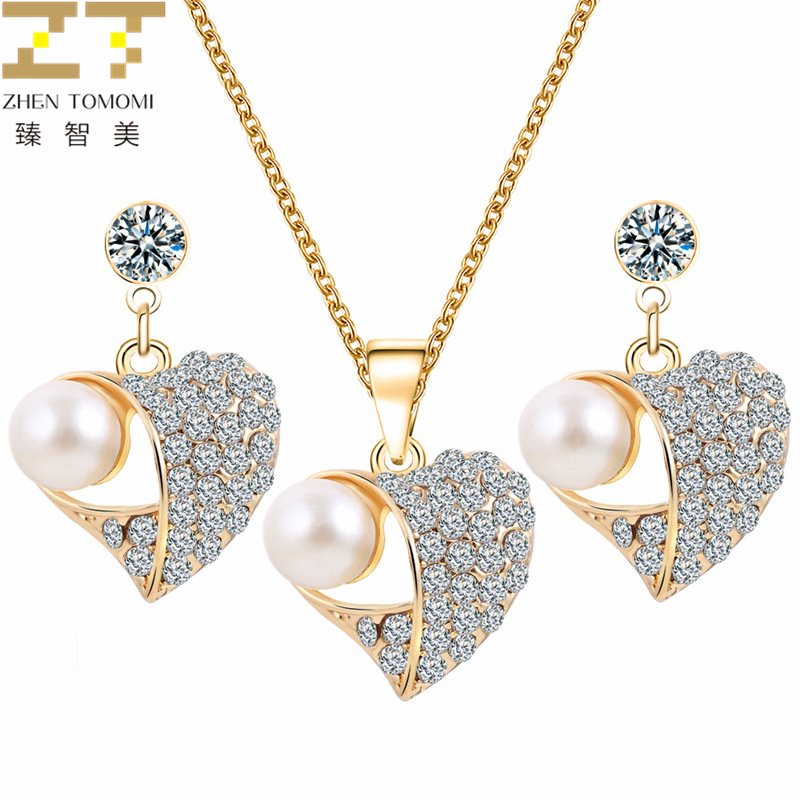 European Design Bridal Wedding Crystal Peach Heart Pendant Chokers Necklace/Earrings Jewelry Sets For Women Simulation Pearl Jewelry