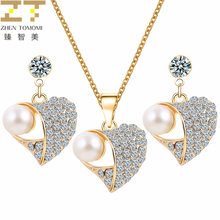 Hot Fashion Bridal Wedding Crystal Peach Heart Pendant Chokers Necklace/Earrings Jewelry Sets For Women Simulation Pearl Jewelry(China)