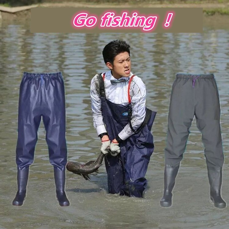 Fishing Apparel Siamese Water Pants Waist Rubber Boots Waterproof Fishing Wading Half-body Rain Pants Clothing Farmland Garden Mine Mud Pond Fashionable Patterns