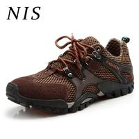 NIS Large Size Eur39 46 Men Casual Shoes Breathable Mesh Faux Suede Patchwork Men Shoes Outdoor Sports Climbing Hiking Sneakers