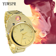 цена на Men Watch quartz Lighter watches USB Charge fashion Windproof Flameless Cigarette Lighter male gift wristwatch JH329