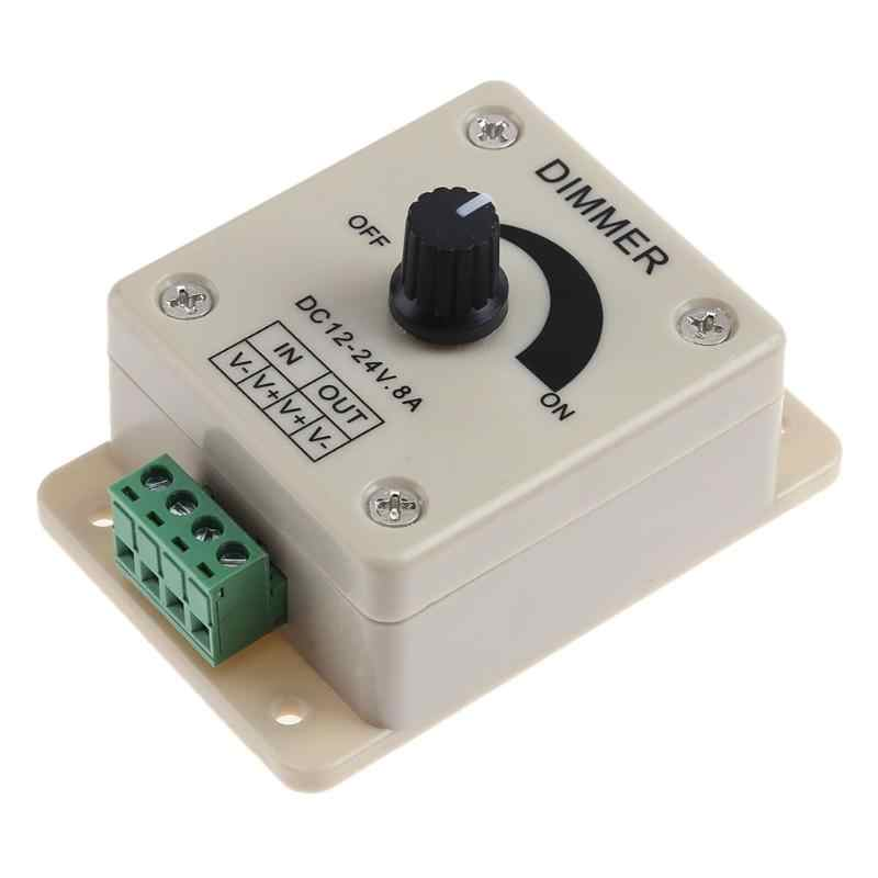 Adjustable LED Dimmer Switch 12-24V 8A Brightness Lamp Strip Hand ON OF Driver Single Color Light Power Supply Controller White