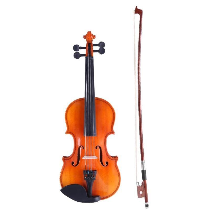 Violon en bois massif mat 1/8 artisanat rayure Violino pour enfants étudiants débutant avec étui arc Instrument de musique fait main