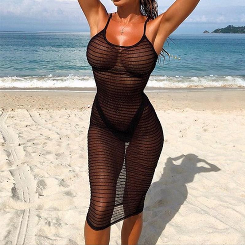 Fashionable Women s Bikini Long Cover Up Cardigan Mesh Summer Beach Transparent Dress Solid Color HOT Fashionable Women's Bikini Long Cover Up Cardigan Mesh Summer Beach Transparent Dress Solid Color HOT SALE