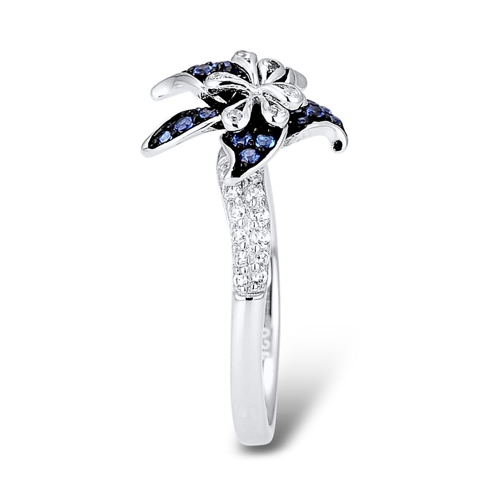 SANTUZZA Silver Flower Ring For Women 925 Sterling Silver Blooming Flower Blue White Cubic Zirconia кольца anillos Party Jewelry
